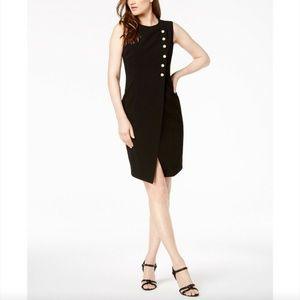 NWT Calvin Klein Faux Wrap Pearl Sheath Dress 2 14